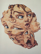 "James Esber, ""Stormin' Norman"", Plasticine, canvas mounted on wall, Approx. 51"" x 44"", 1997."