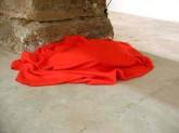 "Wendy Jacobs, ""Sleepers"", Blankets, power blower motor, cord, air bladders, Size variable, 1993"