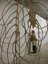 """Sarah Lovitt """"Be, Being, Been"""" 2000 rubber, fabric 7 x 3 x 3 feet"""