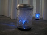 China Blue. Firefly 2.0. Dimension variable Pager motor, guitar strings, plastic water bottle, F-led. 2010