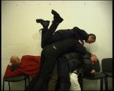 """Azorro (Oskar Dawicki, Igor Krenz, Wojciech Niedzielko, Lukasz Skapski), """"Hamlet"""", 2002, video, collection of the Arsenal Gallery, Bialystok, Poland"""