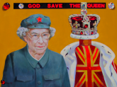 "Anton S. Kandinsky, God Save the Queen, 2011, oil on canvas, 36"" x 48""."
