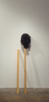 Eric Yahnker Sticks Before/After Puberty, 2008 Wood, wig H: approx. 45 inches Courtesy of Ambach & Rice Gallery, Los Angeles