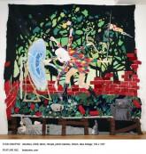 "Todd Knopke. Interface. Fabric, thread, photo transfer, ribbon, fake foliage.132 x 108"". 2008."