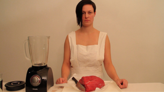 Helena von Karkkainen (born in Finland, lives and works in Helsinki) Woman and Meat Industry single-channel HD color video with audio 6 min. 30 sec. 2012
