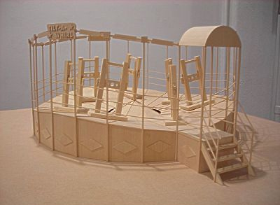 "Richard Humann, ""Tilt-a-Whirl"", 2008 Basswood 6 x 25 x 25 inches Courtesy of Elga Wimmer PCC"