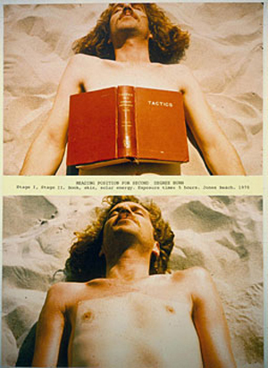 Dennis Oppenheim, Reading Position for Second Degree Burn, 1970, Photosilkscreen, 22 ½ x 30 inches, Courtesy of A. P. Oppenheim