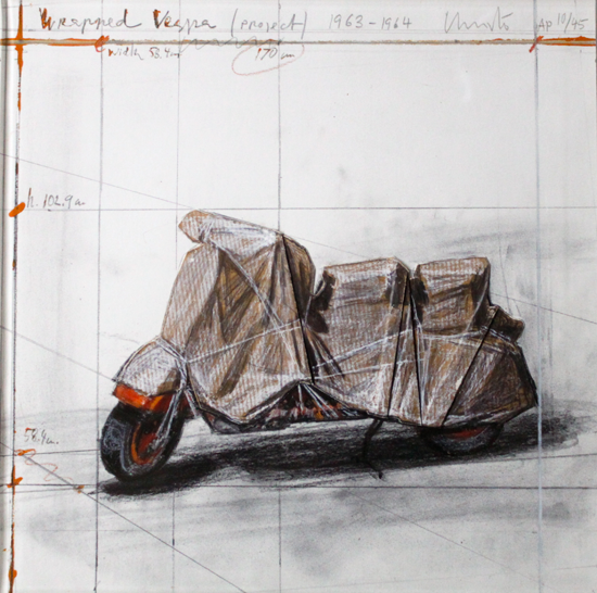Christo-'Wrapped-Vespa-(Project)-1963-64.'-1963-64.-Hand-collaged-lithograph,-digital-pigment-print-with-collage-of-brown-wrapping-paper,-with-handmade-wax-crayon-additions.-12-1-16-x-12-1-16-inches_Cropped