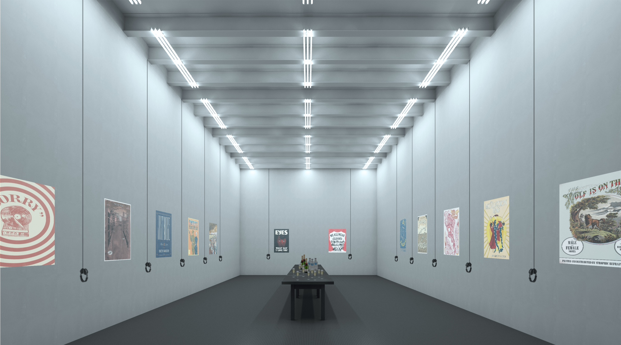 Virtual rendering of Whitebox Art Center space for private event